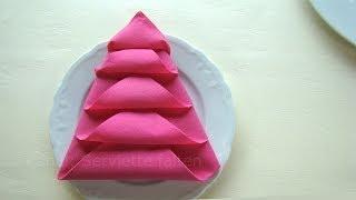 getlinkyoutube.com-Servietten falten Weihnachten: einfache Tischdeko Weihnachten - Weihnachtsbaum