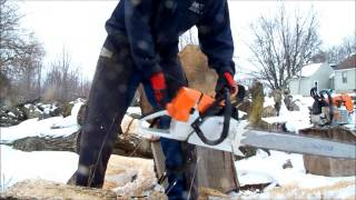 getlinkyoutube.com-Stihl MS461 stock and ported chainsaw