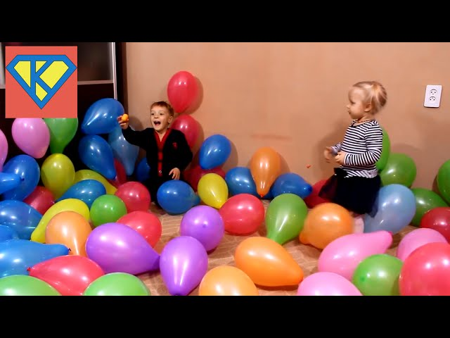 Children look for surprises in balloons