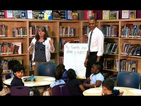 President Obama Talks to Pre-K Students