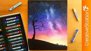 getlinkyoutube.com-Night sky - Speed Drawing | CreativeStation