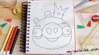 getlinkyoutube.com-How to draw Angry Birds - Bad Piggie - Easy step-by-step drawing lessons for kids