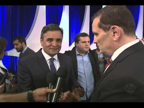 Jornal do SBT (17/10/14) Roberto Cabrini conversa com Dilma e Aécio após debate