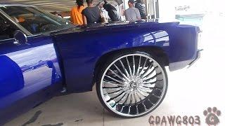 """getlinkyoutube.com-Candy Blue 71 Impala Donk Tucking 28"""" Dub Wheels @ Stuntfest 2k14"""