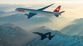 getlinkyoutube.com-First landing of SWISS Boeing 777-300ER (Swiss Air Force Version)