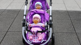 getlinkyoutube.com-Baby Annabell Baby Born Get up - Twin Baby Dolls and Dolls double Pram