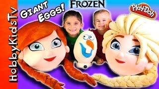 getlinkyoutube.com-Mega GIANT ELSA Anna Frozen Surprise Eggs! Olaf Toys Play-Doh Egg, Chocolate Eggs HobbyKidsTV