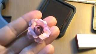 getlinkyoutube.com-How to make paper roses for your scrapbooks and cards tutorial shabby chic