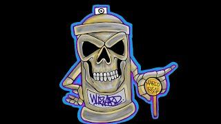 getlinkyoutube.com-skull spraycan characters by wizard - como dibujar un spray de pintura de calavera
