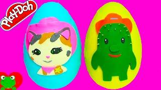 getlinkyoutube.com-Sheriff Callie's Wild West Play Doh Surprise Eggs Toby Sheriff Callie Blind Bags