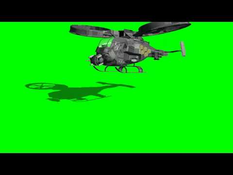 avatar scorpion gunship lands - animated rotors - differnet views - green screen effects