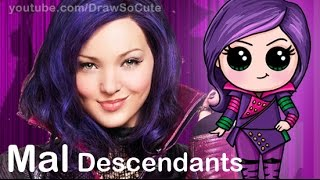 getlinkyoutube.com-How to Draw Mal from Disney Descendants Cute step by step