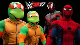 getlinkyoutube.com-WWE 2K17- TEENAGE MUTANT NINJA TURTLES VS SPIDERMAN
