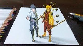 getlinkyoutube.com-Desenhando Naruto Rikudou Sennin e Sasuke Rinnegan Supremo em 3D
