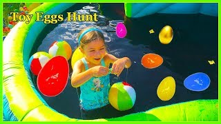 getlinkyoutube.com-GROSS SLIME BAFF Huge Egg Surprise Toys Hunt in Giant Inflatable Water Slide Frozen Elsa Anna Bath
