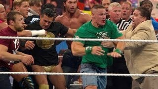 getlinkyoutube.com-John Cena and Brock Lesnar brawl after John Laurinaitis
