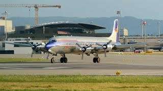getlinkyoutube.com-(Fantastic Sound) The Flying Bulls Douglas DC-6 taxiing and take off runway 32 at ZRH  (Live ATC)