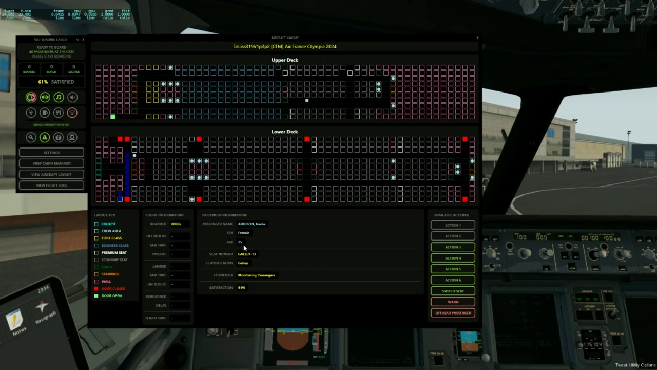 Real-time simulation of the aircraft cabin and passengers