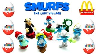 SMURFS THE LOST VILLAGE KINDER SURPRISE EGGS 2017 VS McDONALD'S HAPPY MEAL TOYS SCHLUMPFE EUROPE