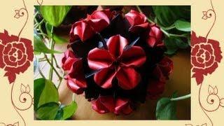 getlinkyoutube.com-Origami ჱܓ Wild Rose ჱܓ Kusudama
