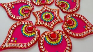 How to make acrylic rangoli | DIY kundan rangoli | rangoli design