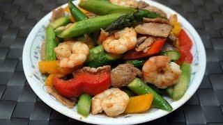 getlinkyoutube.com-Chinese Recipe : Stir-fried Asparagus with Shrimp and Pork
