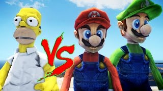getlinkyoutube.com-Homer Simpson VS Mario & Luigi - Great Battle