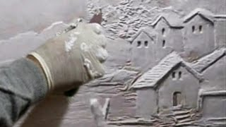 Wall art Sculpture - Houses scene and Trees