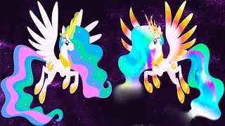 getlinkyoutube.com-My Little Pony Transforms Mane 6 Princess Luna Celestia Rainbow Power Forms - Coloring Book For Kids