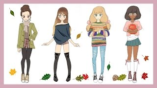 getlinkyoutube.com-❀ Drawing Tutorial | How to draw 4 Fall Outfits ❀