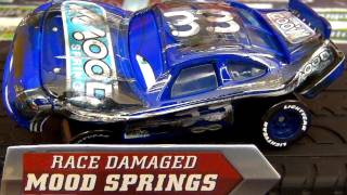 getlinkyoutube.com-Cars Race Damaged Mood Springs diecast Disney racer from Final Lap Mattel Review by Blucollection