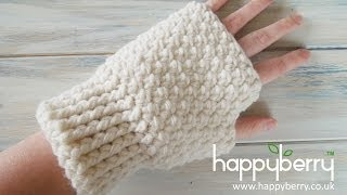getlinkyoutube.com-(Crochet) How To - Crochet Fingerless Mitten Gloves