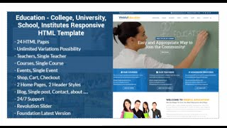 Education - College, University, School, Institutes Responsive HTML Template Download