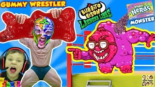 getlinkyoutube.com-GUMMY WRESTLER Fights GIANT GUMMY BEAR & Kid Eats It!  Nerds Monster Battle (FGTEEV Launcha Libre)