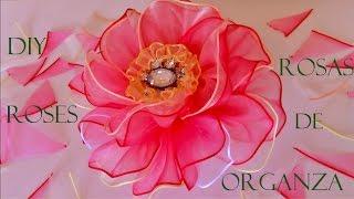getlinkyoutube.com-DIY rosas matizadas en cintas de organza - organza roses Ribbons