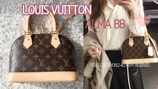 getlinkyoutube.com-Louis Vuitton Alma BB 1 Year Review,Alma BB Monogram,Wear and Tear,What Fits Inside?