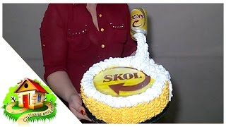 getlinkyoutube.com-Bolo Skol com latinha/Bolo cerveja/decorando bolo simples com chantilly. - Culinária em Casa