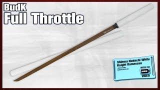 getlinkyoutube.com-Shinwa Black Damascus Steel Blade White Knight Katana Sword Hand Forged - $149.99!!