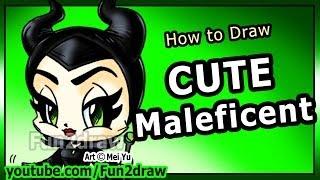 getlinkyoutube.com-How to Draw Disney Characters - Maleficent Angelina Jolie - Fun2draw Cartoon Art Lesson