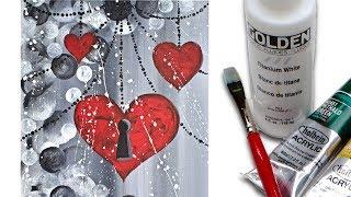 getlinkyoutube.com-Heart Painting on canvas Acrylic Painting tutorial for Beginners