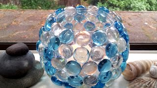 getlinkyoutube.com-DIY How to Decorate Glass Votive Holder with Glass Bead Decorated Candle Holder