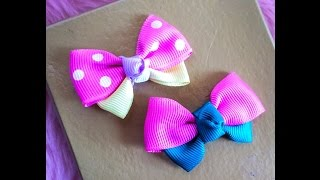 getlinkyoutube.com-DIY: How to make ribbon bow hair clip