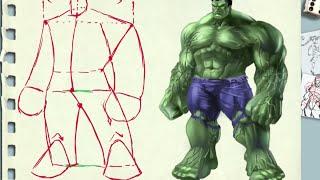 getlinkyoutube.com-como dibujar la figura musculosa tres cuartos (explicado) Hulk