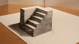 getlinkyoutube.com-How to draw - 3d cube with stairs - Anamorphic Drawing - Optical illusion