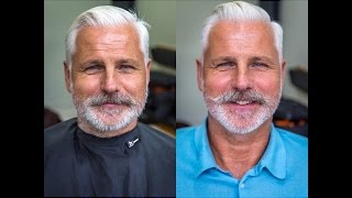 getlinkyoutube.com-How To Cut and Style a Side Parted Slick Back Disconnection, inc beard trim and moustache shape (13)