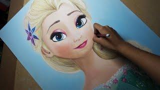 getlinkyoutube.com-Speed Drawing: Elsa (Frozen Fever) | Diana Díaz