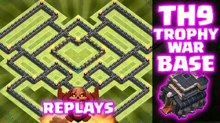 getlinkyoutube.com-Clash of Clans - REPLAYS OF BEST TOWNHALL 9 TROPHY/WAR BASE!