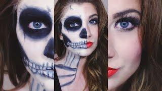 getlinkyoutube.com-Halloween Makeup Tutorial: Half Skull Half Glam