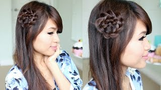 getlinkyoutube.com-Rosette Flower Braid Hairstyle for Medium Long Hair Tutorial