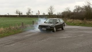 getlinkyoutube.com-VW Golf MK2 1.8T 2nd gear tyre burnout